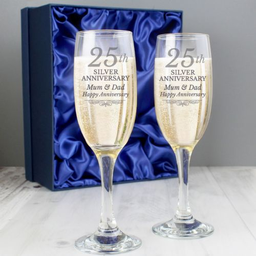Personalised 25th Silver Anniversary Pair of Champagne Flutes Glasses With Gift Box